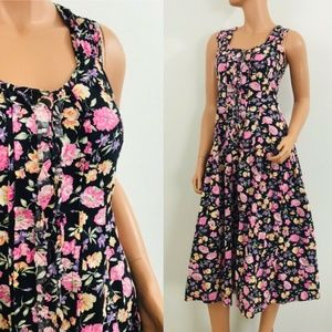 vintage Adonna 90s black floral dress sundress